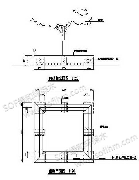 塑木树池坐凳施工图
